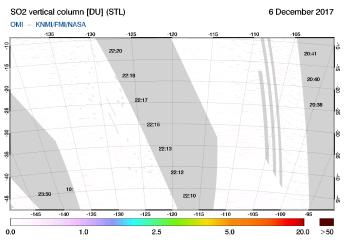 OMI - SO2 vertical column of 06 December 2017