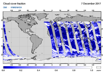 OMI - Cloud cover fraction of 07 December 2017