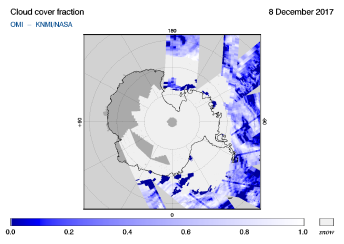 OMI - Cloud cover fraction of 08 December 2017