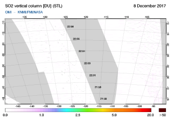 OMI - SO2 vertical column of 08 December 2017