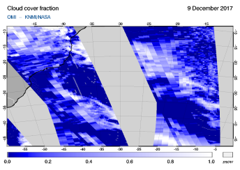 OMI - Cloud cover fraction of 09 December 2017