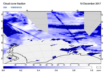 OMI - Cloud cover fraction of 10 December 2017