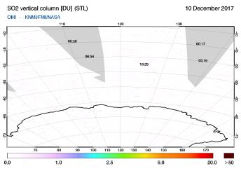 OMI - SO2 vertical column of 10 December 2017