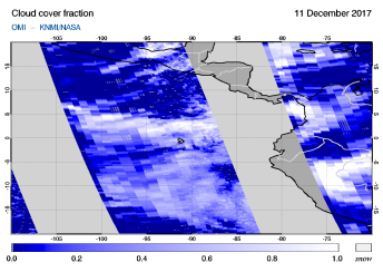 OMI - Cloud cover fraction of 11 December 2017