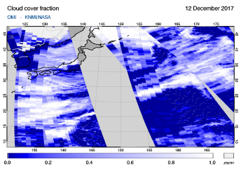 OMI - Cloud cover fraction of 12 December 2017