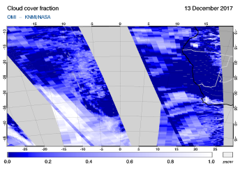 OMI - Cloud cover fraction of 13 December 2017