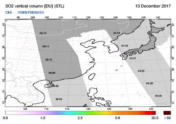 OMI - SO2 vertical column of 13 December 2017