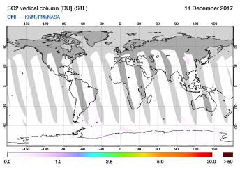 OMI - SO2 vertical column of 14 December 2017