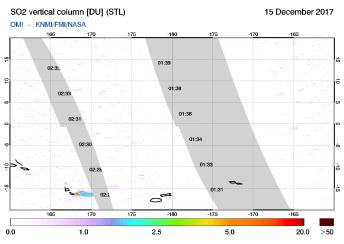 OMI - SO2 vertical column of 15 December 2017