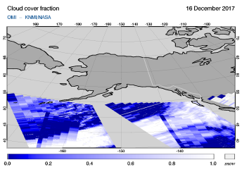 OMI - Cloud cover fraction of 16 December 2017