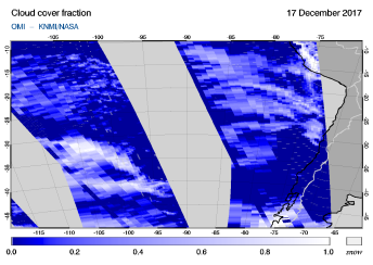 OMI - Cloud cover fraction of 17 December 2017