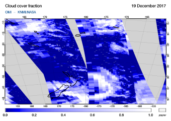 OMI - Cloud cover fraction of 19 December 2017