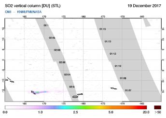 OMI - SO2 vertical column of 19 December 2017