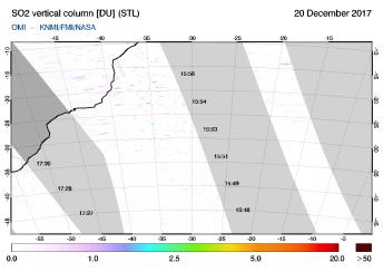 OMI - SO2 vertical column of 20 December 2017