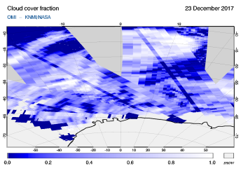 OMI - Cloud cover fraction of 23 December 2017
