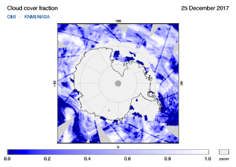 OMI - Cloud cover fraction of 25 December 2017