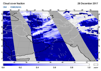OMI - Cloud cover fraction of 26 December 2017