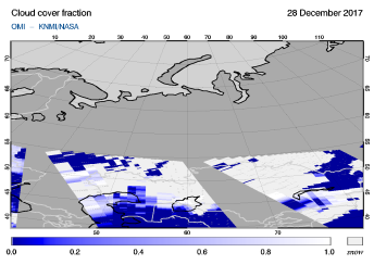 OMI - Cloud cover fraction of 28 December 2017