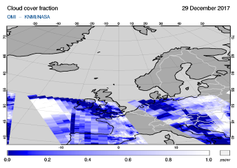 OMI - Cloud cover fraction of 29 December 2017
