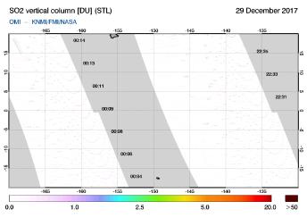 OMI - SO2 vertical column of 29 December 2017