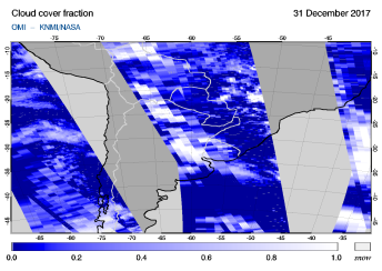 OMI - Cloud cover fraction of 31 December 2017