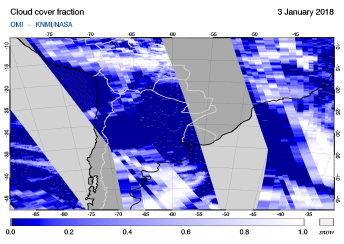 OMI - Cloud cover fraction of 03 January 2018