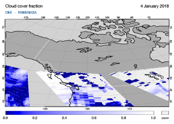 OMI - Cloud cover fraction of 04 January 2018