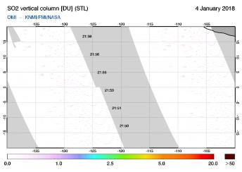 OMI - SO2 vertical column of 04 January 2018