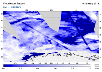OMI - Cloud cover fraction of 05 January 2018