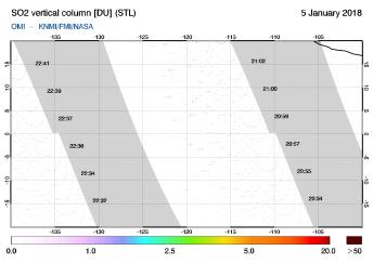 OMI - SO2 vertical column of 05 January 2018