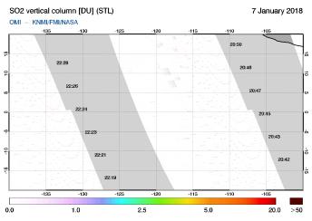 OMI - SO2 vertical column of 07 January 2018