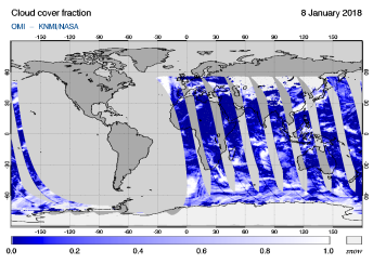 OMI - Cloud cover fraction of 08 January 2018
