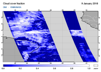 OMI - Cloud cover fraction of 09 January 2018