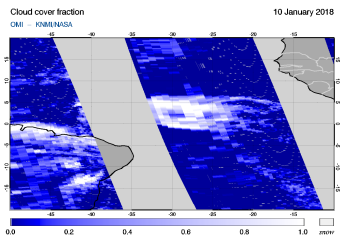 OMI - Cloud cover fraction of 10 January 2018