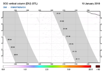 OMI - SO2 vertical column of 10 January 2018