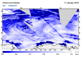 OMI - Cloud cover fraction of 11 January 2018