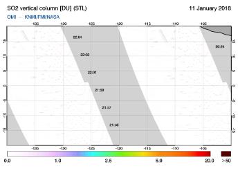 OMI - SO2 vertical column of 11 January 2018