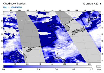 OMI - Cloud cover fraction of 12 January 2018