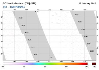 OMI - SO2 vertical column of 12 January 2018