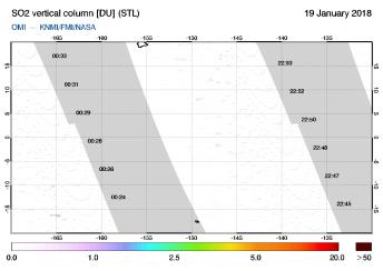 OMI - SO2 vertical column of 19 January 2018
