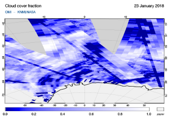 OMI - Cloud cover fraction of 23 January 2018