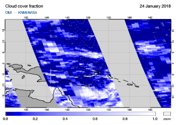 OMI - Cloud cover fraction of 24 January 2018