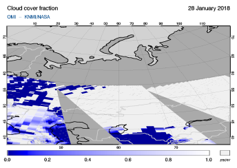 OMI - Cloud cover fraction of 28 January 2018