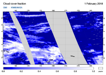 OMI - Cloud cover fraction of 01 February 2018