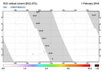 OMI - SO2 vertical column of 01 February 2018