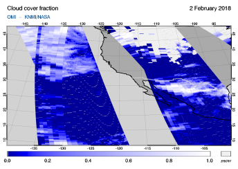 OMI - Cloud cover fraction of 02 February 2018
