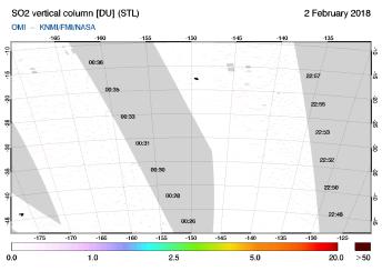 OMI - SO2 vertical column of 02 February 2018