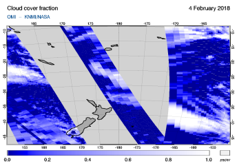 OMI - Cloud cover fraction of 04 February 2018