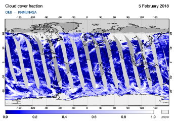 OMI - Cloud cover fraction of 05 February 2018