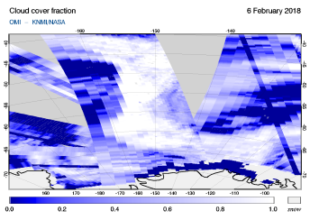 OMI - Cloud cover fraction of 06 February 2018